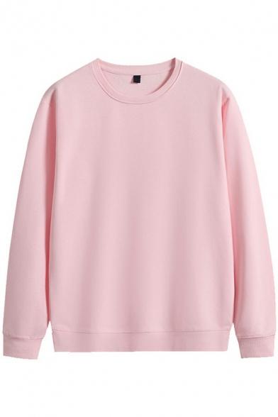 Casual Sweatshirt Plain Long Sleeve Crew Neck Relaxed Sweatshirt for Men
