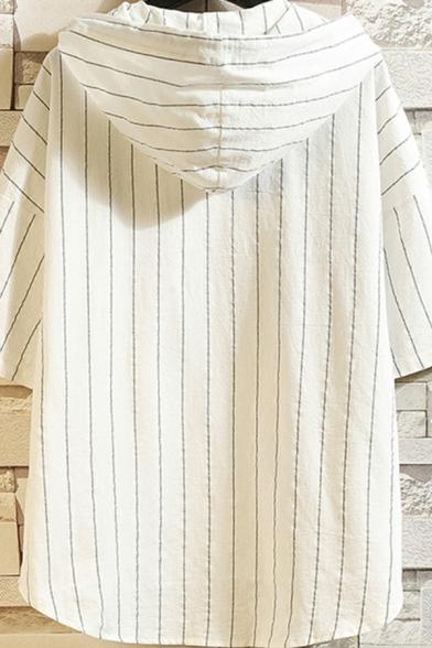 StreetLook Men's Hoodie Vertical Striped Short Sleeve Drawstring Button Detail Loose fit Hoodie