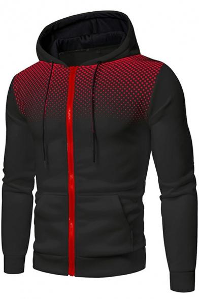 Dashing Mens Hoodie Polka Dot Pattern Zip up Pocket Detail Long-Sleeved Slim-Fitted Drawcord Hoodie
