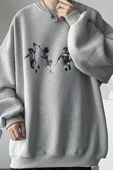 Mens Sweatshirt Smile Pattern Rib Cuffs Long Sleeves Round Neck Loose Fit Sweatshirt