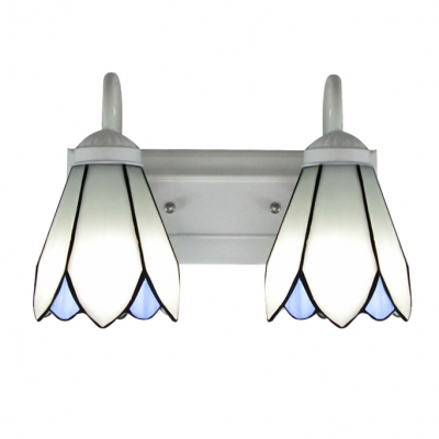 12 Inches Wide White Finish Bar Two Lights Tiffany Bathroom Lighting