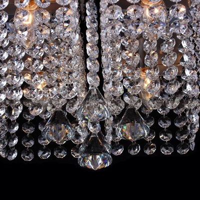 ... 4-Light Modern and Elegant Sparkling Crystal Beaded Strands Shade Flush Mount with Round Canopy & 4-Light Modern and Elegant Sparkling Crystal Beaded Strands Shade ...
