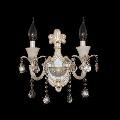 Beatiful Vase Pattern Crystal Wall Light Fixture with Curved Sleek Zin Alloy Arm