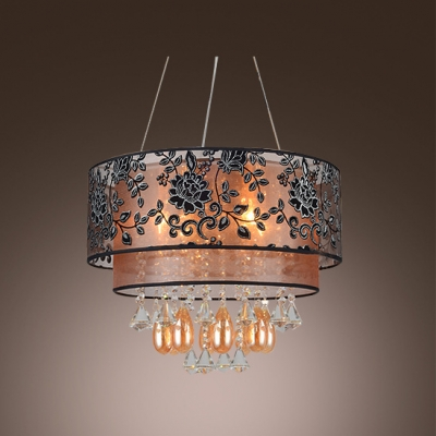 Beautiful Crystal Teardorps and Delicate Engraved Black Flowers  Embellished Stunning Modern Pendant Light