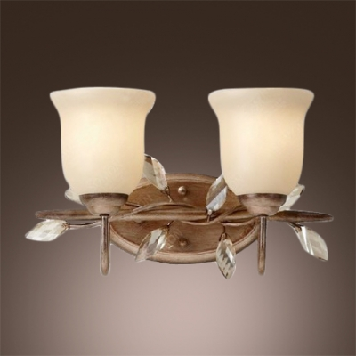 Beautiful Scrolls and Beaded Crystal Leaves Makes Traditional Wall Light Fixture Welcomed Addition to Your Home