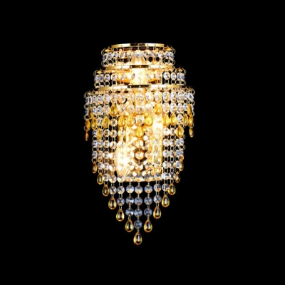 Brighten Up Your Home with 2-light Crystal Wall Sconce with Antique Gold Finish