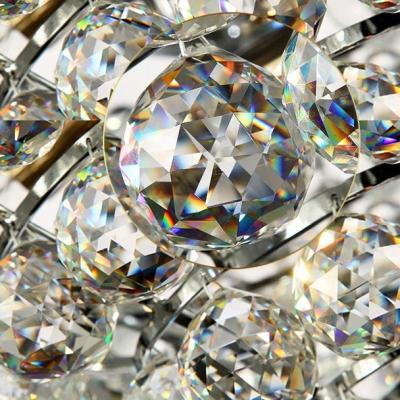 Chrome Finished Frame Hanging Cluster of Clear Crystal Balls Brilliant Design Flush Mount