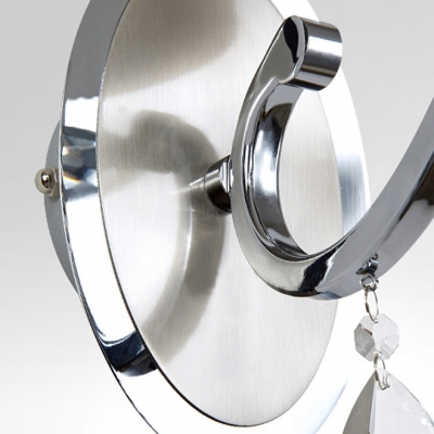 Contemporary Simple Wall Sconce Adorned with Chrome Finish and White Fabric Drum Shade