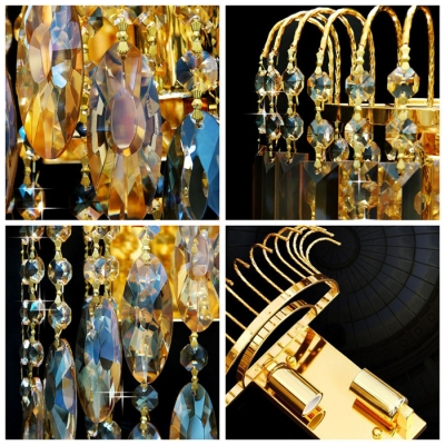 Dazzling Gold Finish and Gleaming Strands of  Crystal Beads Composed Stunning Wall Sconce