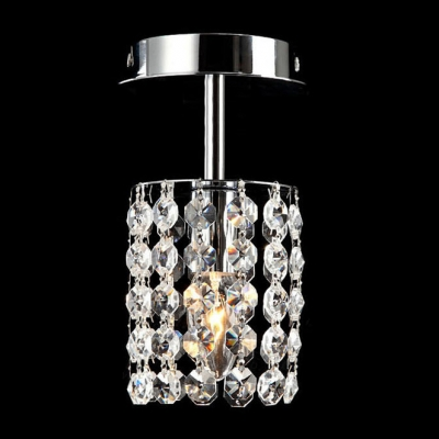 Ddelicate Polished Chrome Finish Base and Strings of Clear Crystal Beads Composed Sophisticated Semi Flush Mount Light