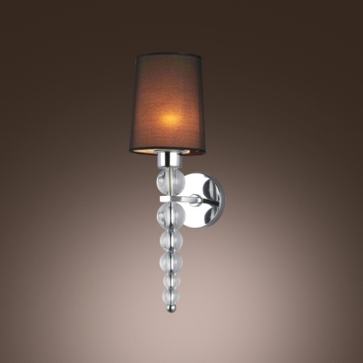 Black Ornate Wall Lights : Decorative Crystal Balls Wall Light Sconce Features Black Hardback with Lined Fabric Shade ...