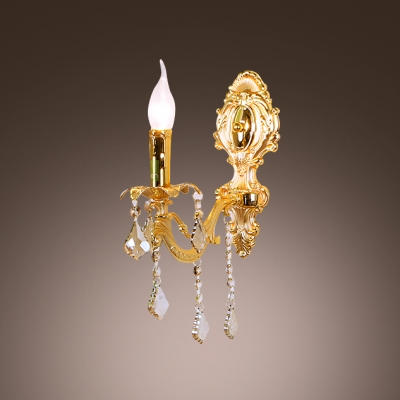 Delicate Back Plate Scrolling Arms and White Fabric Shade Creates Sparkling Wall Light Fixture