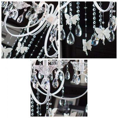 Delicate Small Butterfles Suspended and Hand Cut Crystal Strands and Droplets Accented 6-Light Chandelier