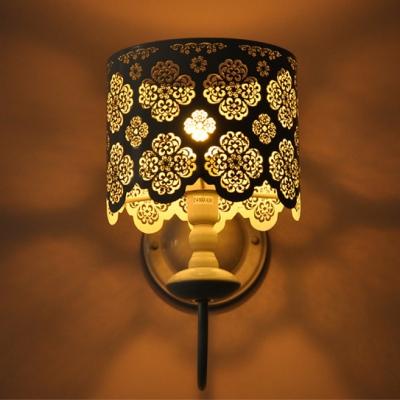 Drum Floral Carved Stainless Steel Designer Wall Light