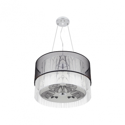 Elegant Black India Yarn-made Drum Shade Adorned Sophisticated Four- light Contemporary Pendant Light