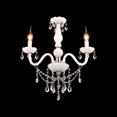 Elegant White Finish Frame and Clear Crystal Add Glamour to Delightful Three Candelabra Light Chandelier
