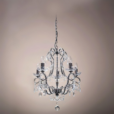 Exquisite Chandelier Features Black Finish Frame Trimmed with Clear Crystal Creates Amazing Look