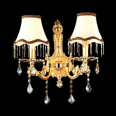 Extraordinary Two-light Wall Sconce Completed with Beautiful Scrolling Arms and Luxury Gold Finish