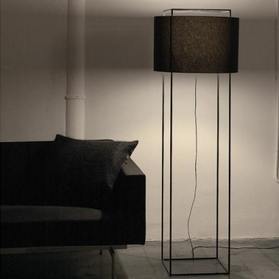 "Fabric Drum Shade Classic Designer Floor Lamp 64.9""High"