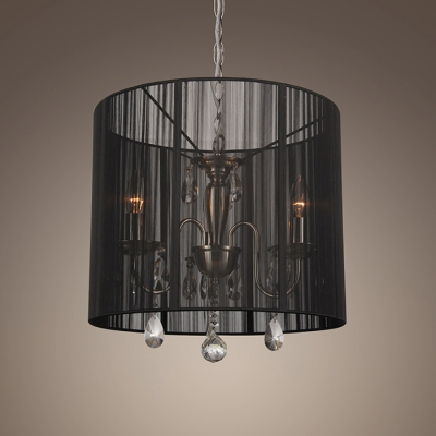 Gorgeous Sheer Black Shade Cylinder Chandelier with Clear Crystal Droplets