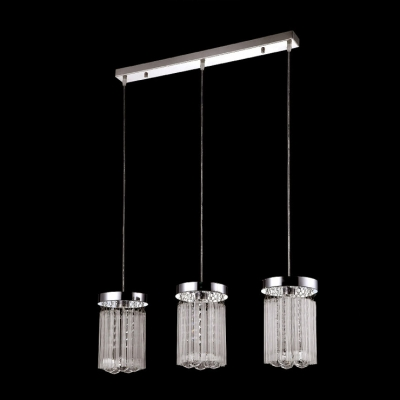 Gorgeous Three Light Multi-Light Pendant Features Delicate Clear Cylinder Shades Creating Graceful Addition to Your Home Decor