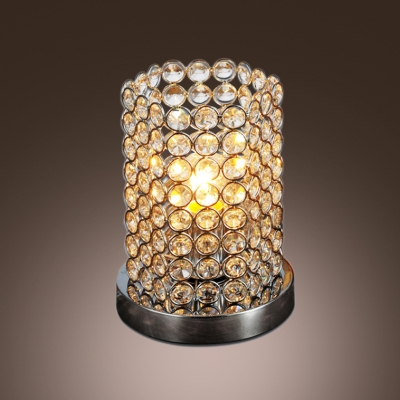 Graceful crystal cylinder table lamp features chrome finish base aloadofball Image collections