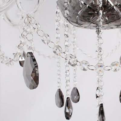 Gracefully Smoky Gray Bell Shades and Crystal Droplets 19.6
