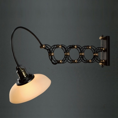 Antique Black Gold Jade 1 Light LED Wall Light with Dome Shade