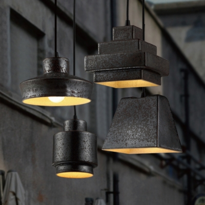 Industrial Rustic 4 Light Pendant Lighting In Wrought Iron