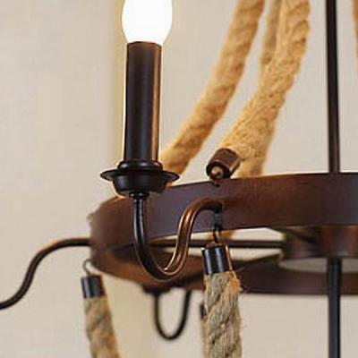 Industrial Black Metal Rope Lined Suspension 8 Light LED Pendant