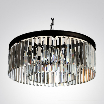 Lustrous Pendant Chandelier Gracefully Encircled with Sparkling Square and Rectangular Crystals