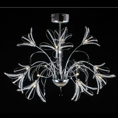 Novelty Chrome Finished Metal Branches and Glistening Crystal Accents Floral Shaped Chandelier
