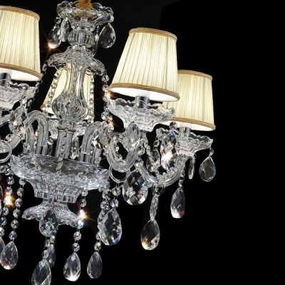 Sparkling Clear K9 Crystal Strands and Droplets Soft White Fabric Shades Romantic Chandelier