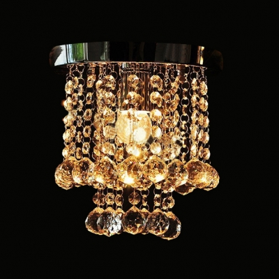 Striking Flush Mount Ceiling Light Features Strands of Crystal Beads and Balls Creating Projective Effect