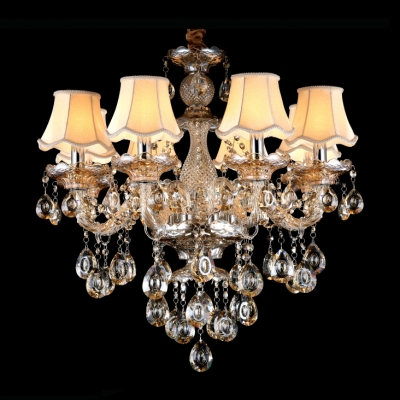 Stunning Hand-Cut Rock Crystal Droplets Warm Amber Crystal and Shades Chandelier