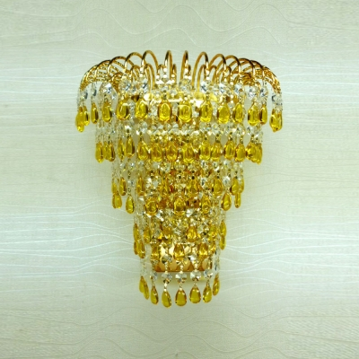 Stunning Regal Three-light Wall Sconce Completed with Gold Finish Frame and Multi-tiers of Crystal Falls Creating Splendid Look