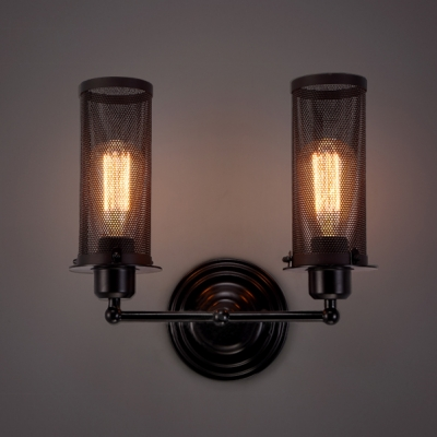 Two-light Wrought Iron Cylinder Net Industrial Wall Light - Beautifulhalo.com