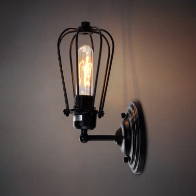 Black Finished Industrial LED Wall Light in Cage Style