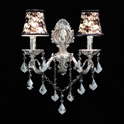 Wonderful Classic Wall Sconce Completed with Black Fabric Shades and Delicate Silver Finish Detailing
