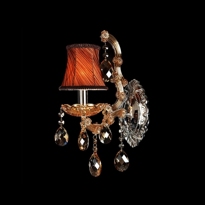 Wonderful Single Light Wall Sconce Features Copper Fabric Bell Shade and Graceful Crystal Droplets