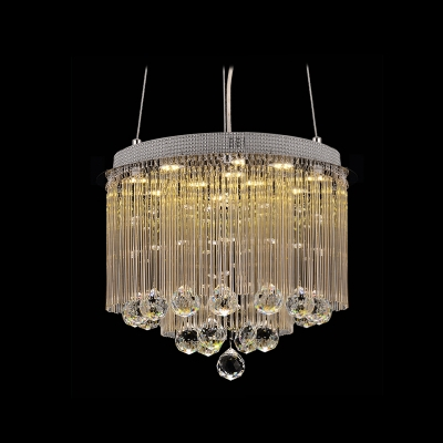 """Image of """"11-Light 15.7""""""""Wide Large Pendant Light Hanging Glistening Clear Crystal Droplets"""""""