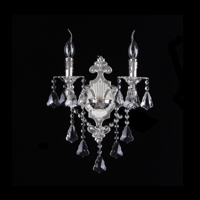 19'' High Antique Silver Wall Sconce Offers Exquisite look with Clear Lead Crystal
