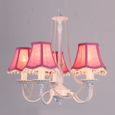 5-Lights Romantic and Lovely Girl's Room Crystal Beaded Strands Fabric Shaded Chandelier