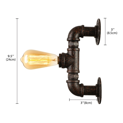 Aged Industrial Pipe LED Wall Light in Rust Copper Finish