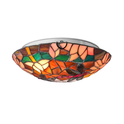 Artistic Pink Lotus and Black Dragonfly Patterned Tiffany Flush Mount Ceiling Light