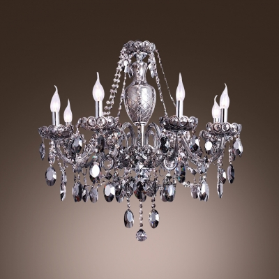 Brown Crystal Sparkling and Dizzying Chandelier 6-Light 27.5
