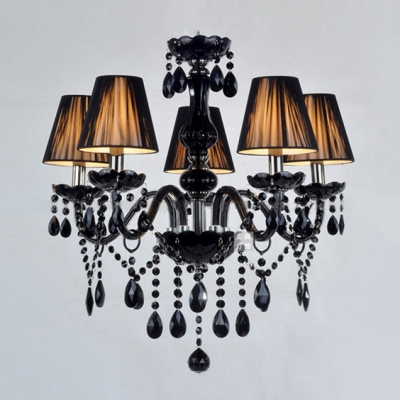 Charming five lights jet black support and crystal strands charming five lights jet black support and crystal strands chandelier lights mozeypictures Images