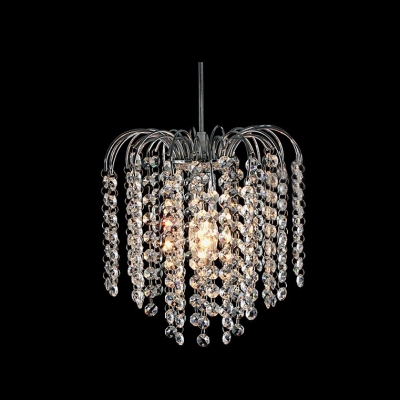 Chrome modern 1 light mini chandelier with waterfall crystal strands aloadofball Images