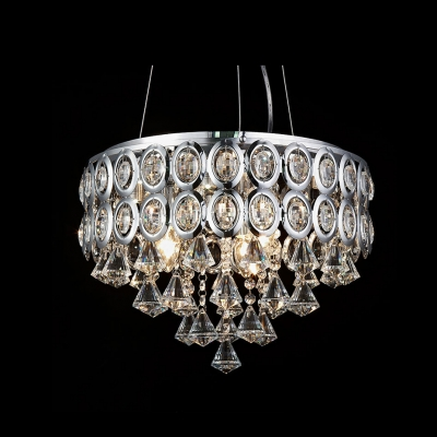 Contemporary Chrome Finished Metal Shade Pendant Light Droping Cluster of Clear Crystal Diamonds