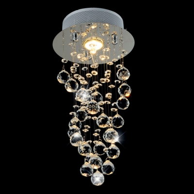 Crystal Beads Drops Hang Together Spiral Rounded Chandelier with Stainless Steel Canopy